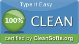 Type it Easy - CLEAN Software certified by Clean Softs Professional Association